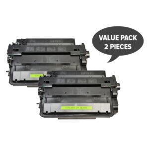 2 x CE255X #55X Black Compatible Laser Toner